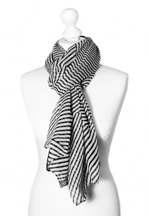 Believe - Large Silky Touch Stripe Design Fashion Scarf (Black and White V.1)